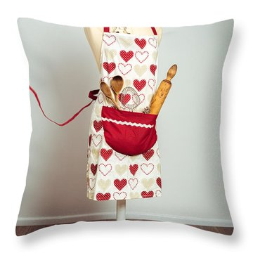 Red Baking Apron Throw Pillow