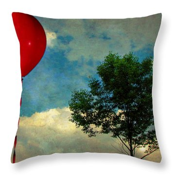 Red Balloon Throw Pillow by Jessica Brawley