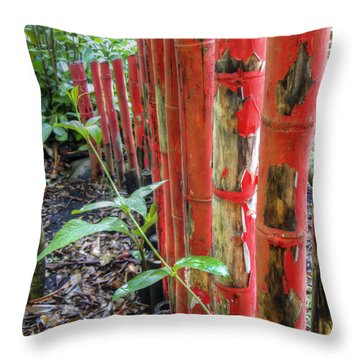 Red Bamboo Throw Pillow by Dolly Sanchez