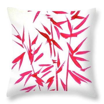 Red Bamboo Throw Pillow