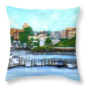 Red Bank From The Molly Pitcher Hotel Throw Pillow