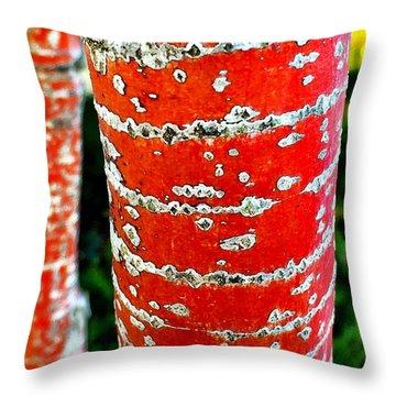 Red Bark Birch Throw Pillow