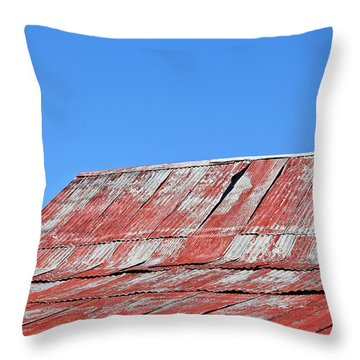 Throw Pillow featuring the photograph Red Barn And Blue Sky- Fine Art by KayeCee Spain
