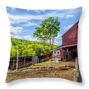 Throw Pillow featuring the photograph Red Barn And Cows by Paula Porterfield-Izzo