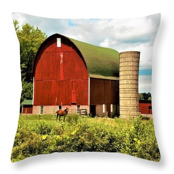 0040 - Red Barn And Horses Throw Pillow