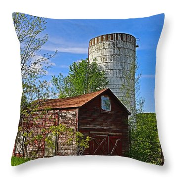 Throw Pillow featuring the photograph Red Barn And Silo by Paula Porterfield-Izzo