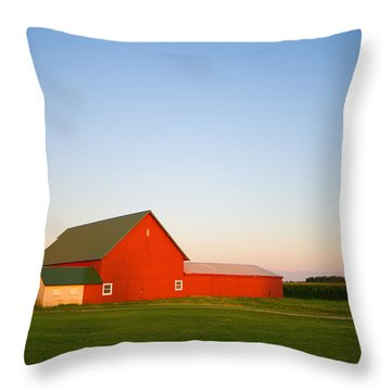 Red Barn And The Moon Throw Pillow