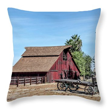 Red Barn And Wagon Throw Pillow