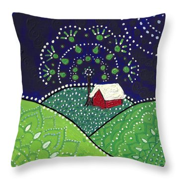 Red Barn At Night Throw Pillow