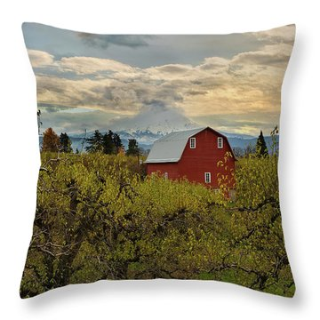 Red Barn At Pear Orchard Throw Pillow