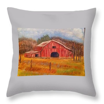 Red Barn Painting Throw Pillow