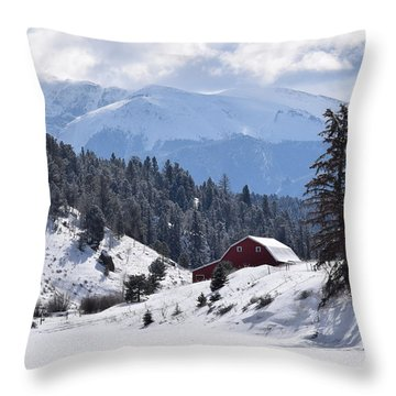 Throw Pillow featuring the digital art Red Barn Burgess Reservoir Divide Co by Margarethe Binkley