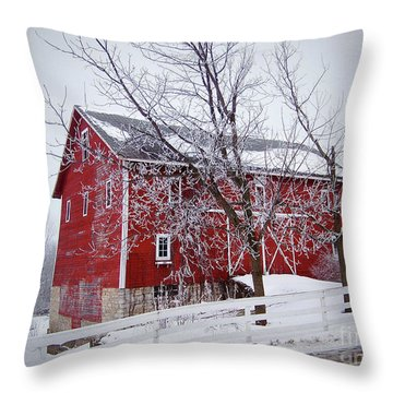 Red Barn Circa 1876 Throw Pillow by Sue Stefanowicz