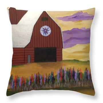Red Barn Golden Landscape Throw Pillow