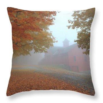 Red Barn In Autumn Fog Throw Pillow by John Burk
