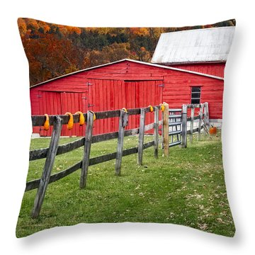 Red Barn In Autumn - Throw Pillow