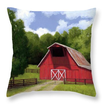 Red Barn In Franklin Tn Throw Pillow