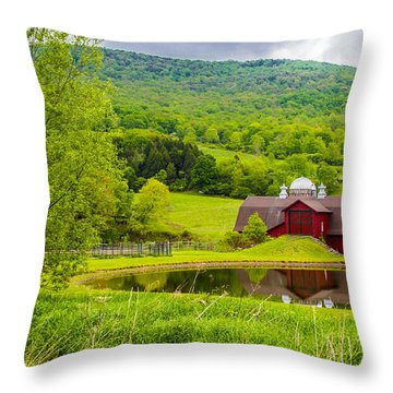 Throw Pillow featuring the photograph Red Barn In Green Mountains by Paula Porterfield-Izzo