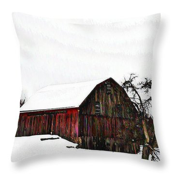 Red Barn In Snow Throw Pillow by Bill Cannon