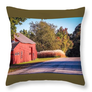 Red Barn In The Country Throw Pillow