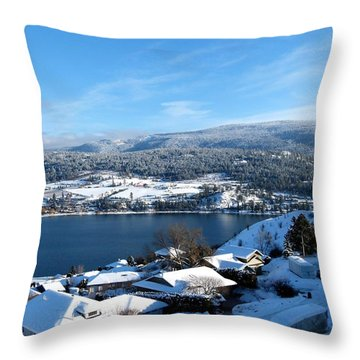 Throw Pillow featuring the photograph Red Barn In The Distance by Will Borden