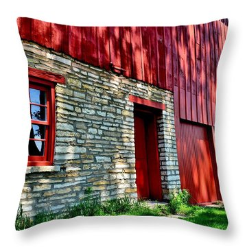 Red Barn In The Shade Throw Pillow