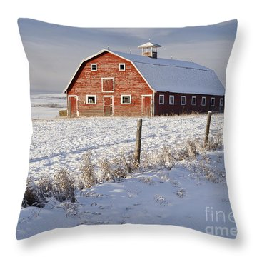 Red Barn In Winter Coat Throw Pillow