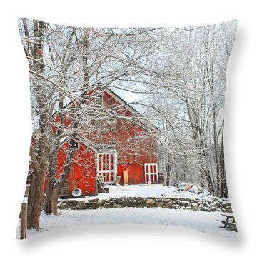 Red Barn In Winter Throw Pillow by John Burk
