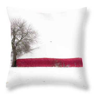 Red Barn In Winter Throw Pillow by Tamyra Ayles