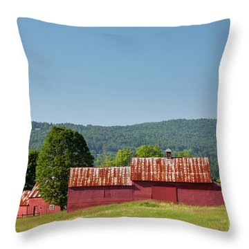 Red Barn Near Quechee Throw Pillow by Susan Cole Kelly