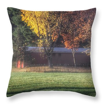 0041 - Red Barn On A Foggy Fall Morning Throw Pillow