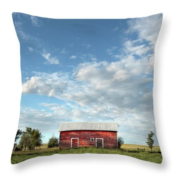 Red Barn On The Prairie Throw Pillow