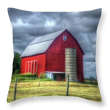 Red Barn Throw Pillow by Randy Pollard