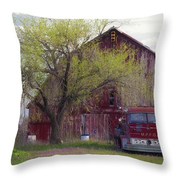 Red Barn Red Truck Throw Pillow by Toni Hopper