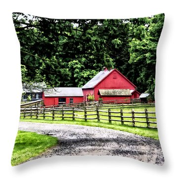 Red Barn Throw Pillow by Susan Savad