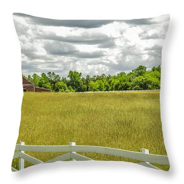 Red Barn White Fence Panorama 02 Throw Pillow