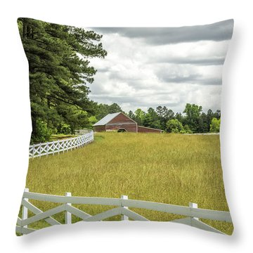 Red Barn White Fence Panorama 03 Throw Pillow