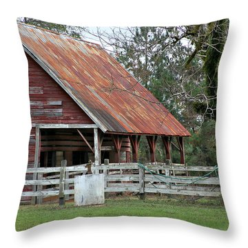 Red Barn With A Rin Roof Throw Pillow by Lynn Jordan