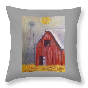 Red Barn With Windmill Throw Pillow