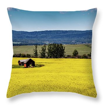 Red Barns In A Sea Of Canola Throw Pillow
