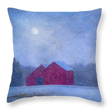Red Barns In The Moonlight Throw Pillow