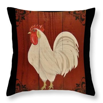 Throw Pillow featuring the painting Red Barnyard Rooster by Cindy Micklos
