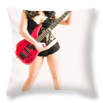 Red Bass Guitar Throw Pillow