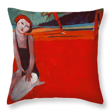 Red Beach Two Throw Pillow