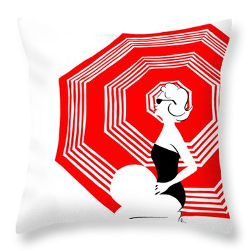 Throw Pillow featuring the digital art Red Beach Umbrella by Cindy Garber Iverson