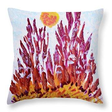 Red Beauties In The Garden Throw Pillow