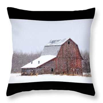 Red Beauty In Snow Throw Pillow