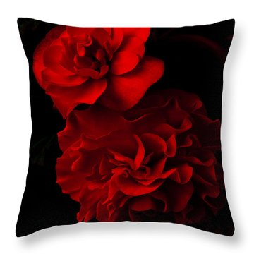 Throw Pillow featuring the pyrography Red Begonia by Lynn Hughes