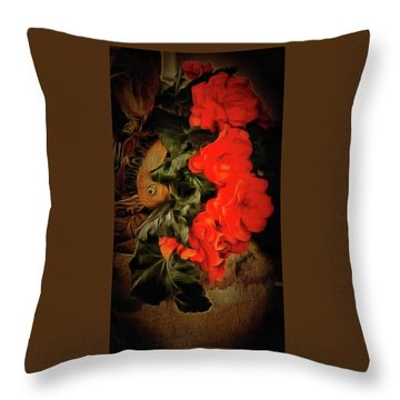Throw Pillow featuring the photograph Red Begonias by Thom Zehrfeld