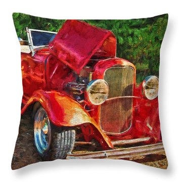 The Red Bell Roadster Throw Pillow